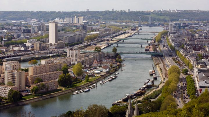 Panoramique de la ville de Rouen en Normandie